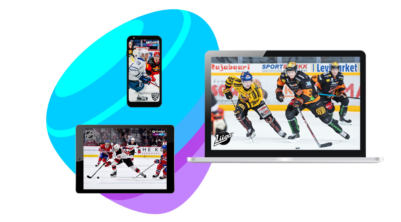 Liiga + Viasat Jääkiekko + Telia TV digiboksi + laajakaista