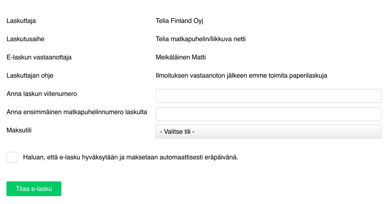E-laskun tilaus