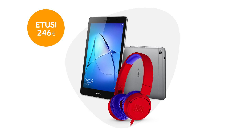 Huawei Mediapad T3 8 + JBL JR300 -kuulokkeet kaupan päälle