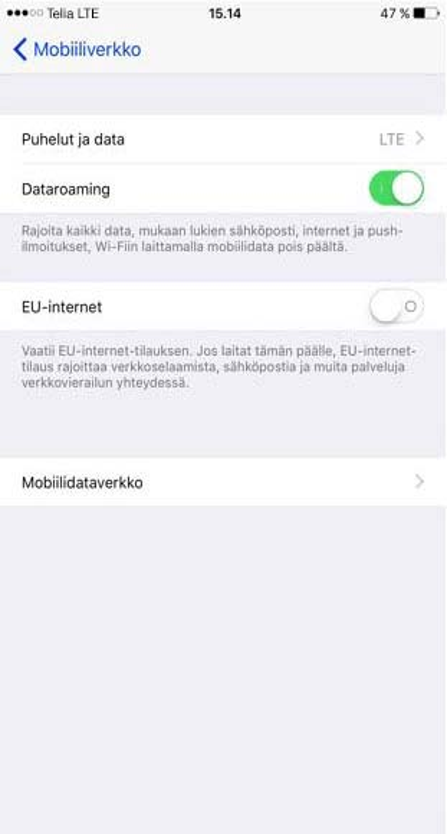 Mobiilidata Ulkomailla